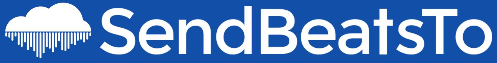 SendBeatsTo Logo Landscape, Typography, Blue Background